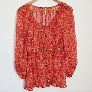 Free People Button Down Floral Sheer Boho Top